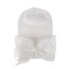 Newborn muts met strik van lint wit extra warm