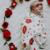 Hydrofiele doek rode bloemen 120x120cm