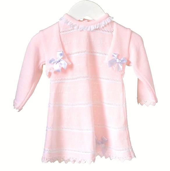 Gebreid roze met wit jurkje en bijpassend vestje