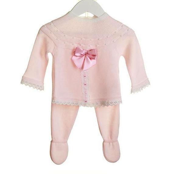 969170b0c853eb Licht roze gebreid babypakje met satijnen strik van Bluesbaby Zip