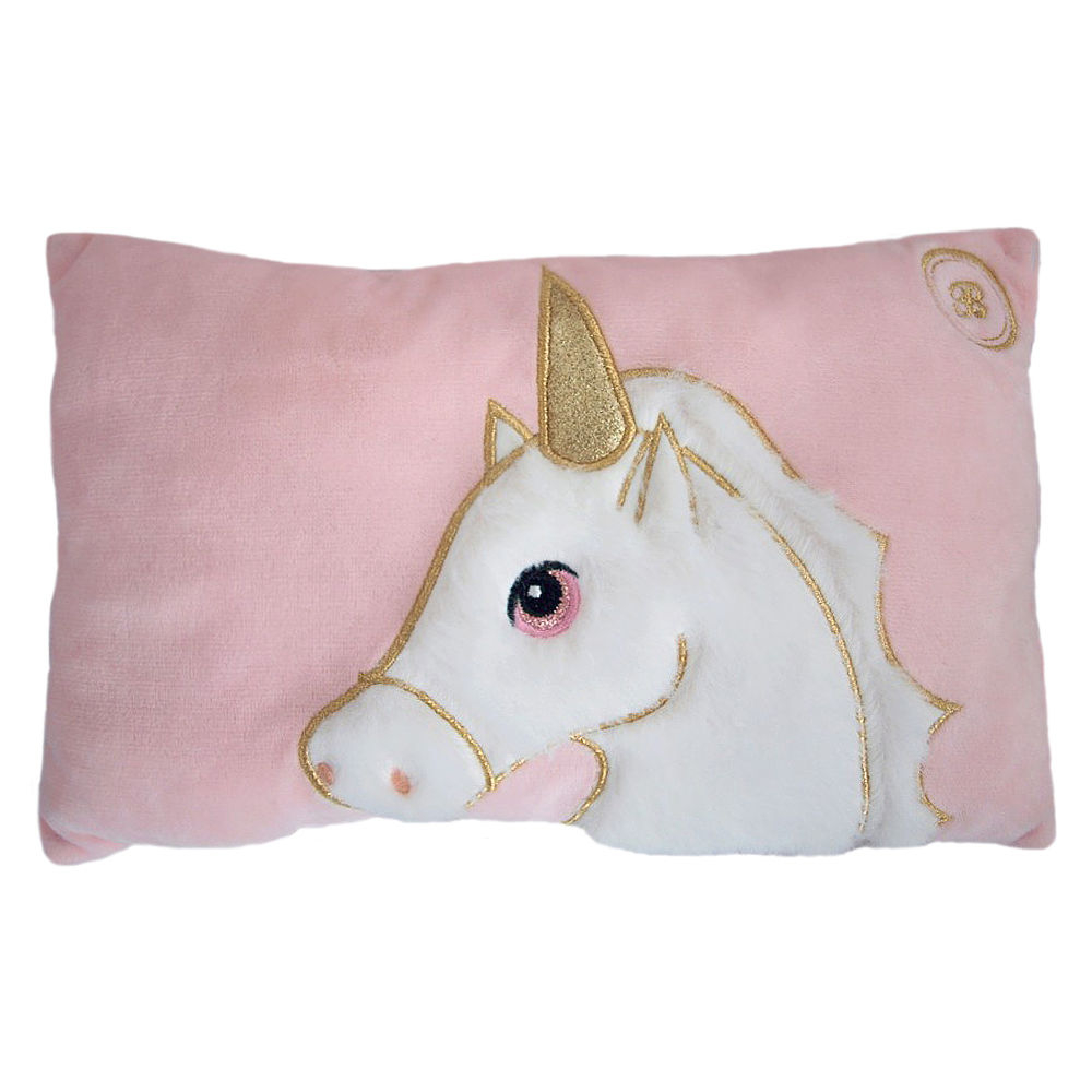 Roze unicorn kussentje met glitter vacht