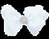 Witte strik haarclip met strass steentjes