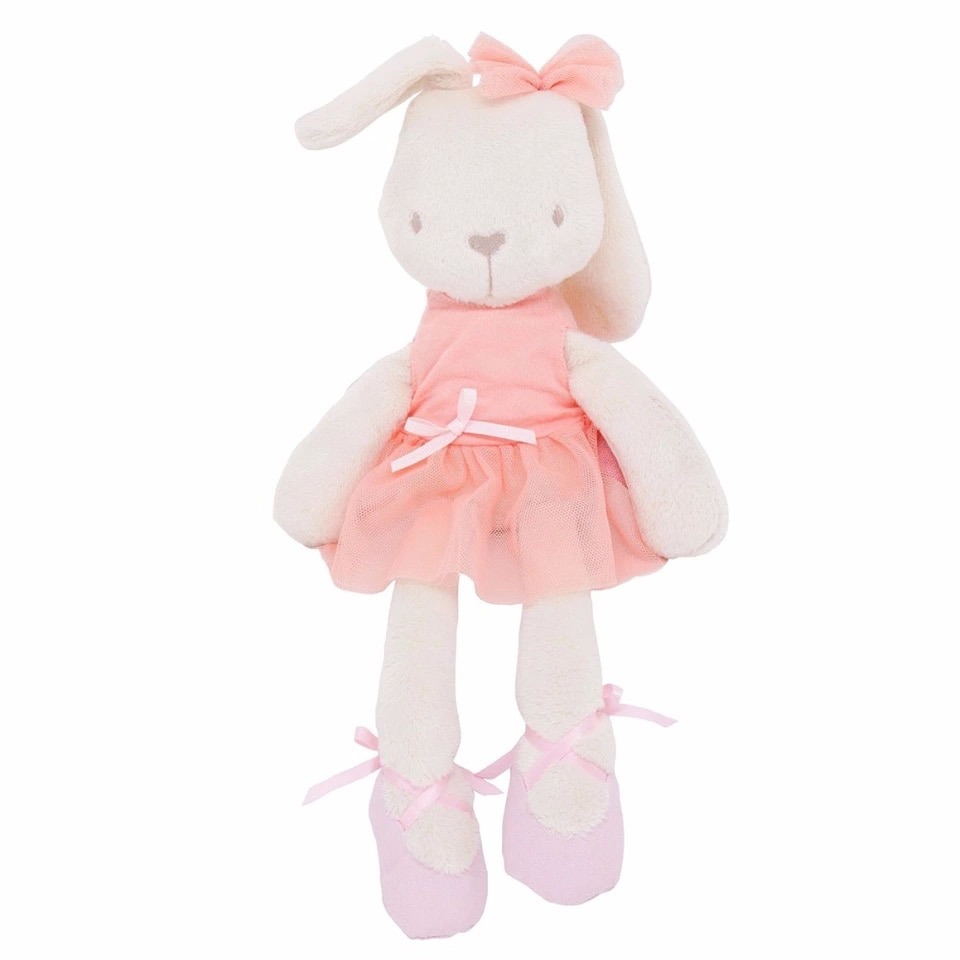 Ballerina knuffel konijntje zalmkleurig jurkje