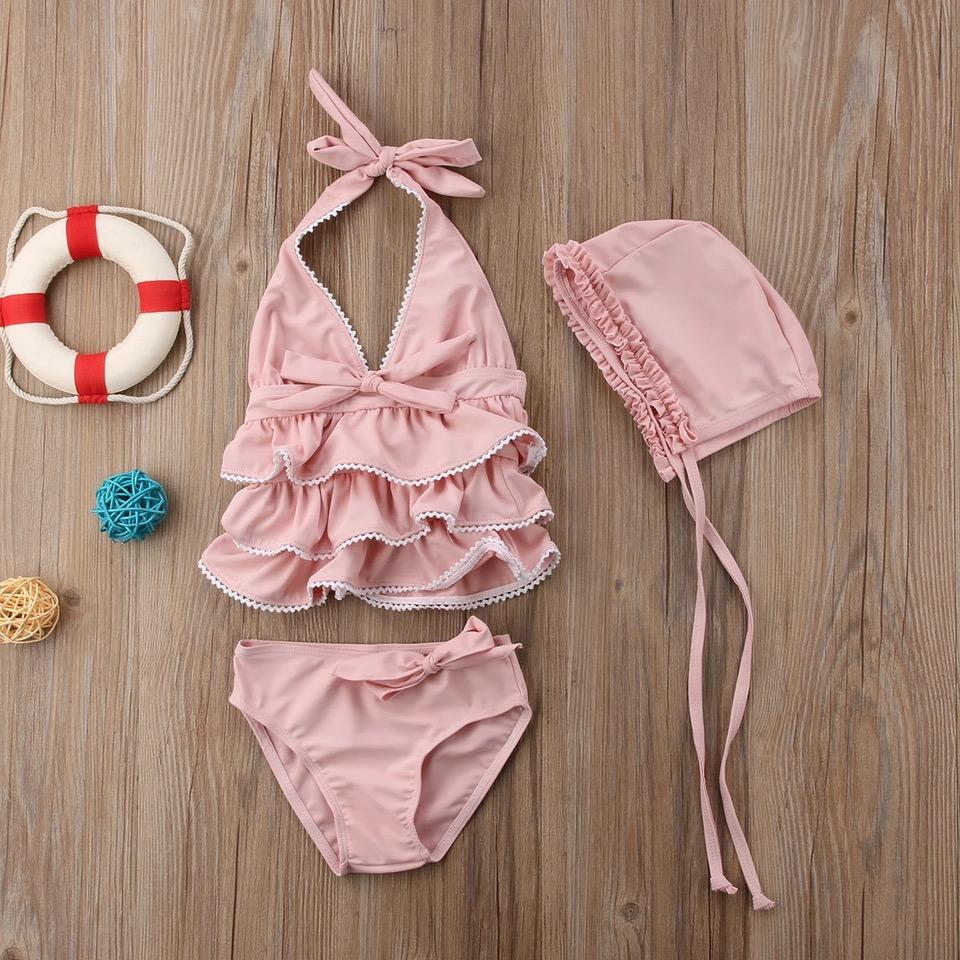 Roze bikini met strikjes