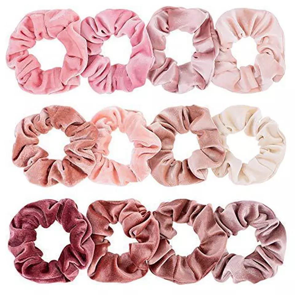 Velvet scrunchie set 12 stuks