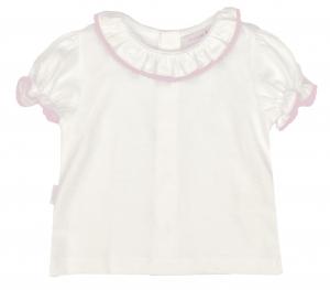 Wit zomers shirtje met rond roze kraagje