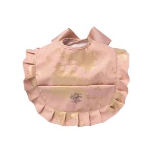 Roze met goud ruffle slabbetje