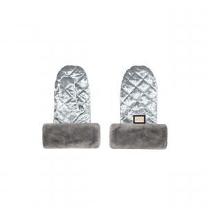 Luxe grijze velvet kinderwagen handschoenen