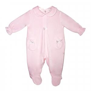 Roze Babypakje velours met strikjes