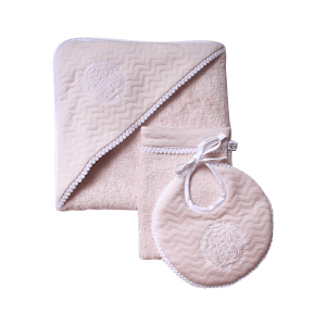 Classic chic set roze: badcape, washand & slabbetje