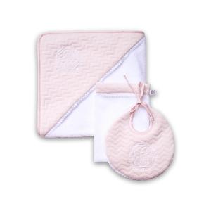 Classic chic set roze met wit: badcape, washand & slabbetje