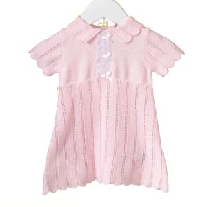 Roze gebreid jurkje met strikjes & bijpassend broekje