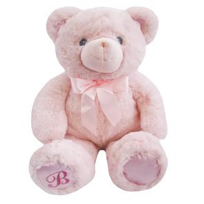 Roze knuffelbeertje met strik 25 cm