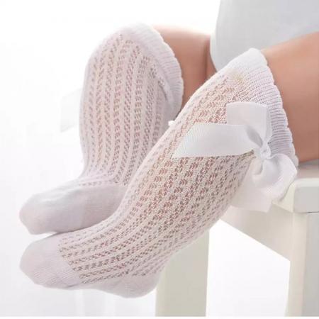 Hoge witte katoenen bow sokjes