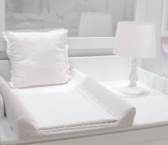 Wit met roze inlegdekentje verschoningsmat