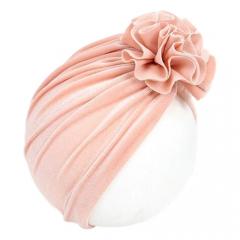 Baby Turban velvet flower 6-18M peach