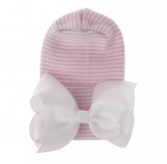 Newborn muts roze gestreept met witte strik van lint extra warm