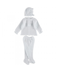3 delige babypak wit met pompon