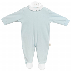 Blauw babypakje met witte details