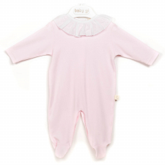 Roze babypakje met witte kraag