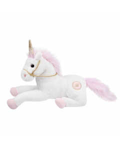 Glitter unicorn knuffel met gouden teugels