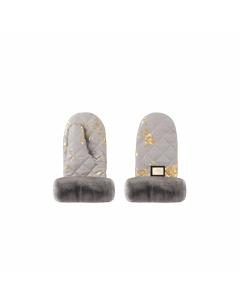 Luxe kinderwagen handschoenen grijs met goud