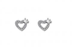 Hartjes oorbellen met zirkonia Platinum verguld