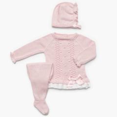 3 delige roze babypakje met strik