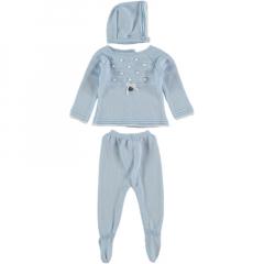Babypakje 3 delig lichtblauw met witte details