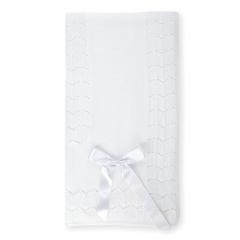 Wit gebreid dekentje met strik