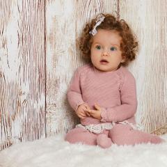 Babypakje 3 delig roze met strikje