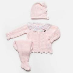 3 delige roze babypakje met rib patroon
