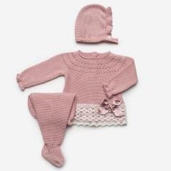 3-delig babypakje roze met strik