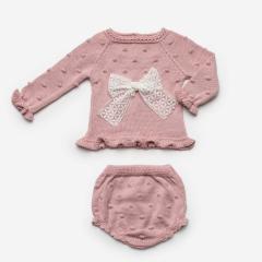 2-delig babypakje roze met grote strik
