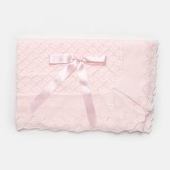 Lichtroze deken met strik 110x120cm