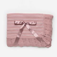 Roze babydeken met wit 110x120cm