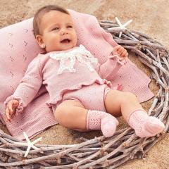 Babypakje 2 delig roze met strik