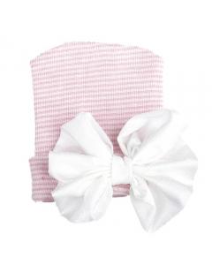 Newborn muts roze gestreept met witte strik van glanzende stof
