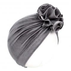 Baby Turban velvet bloem 6-18M grijs