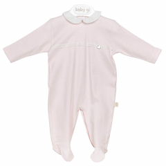Roze classic babypakje met witte kraag