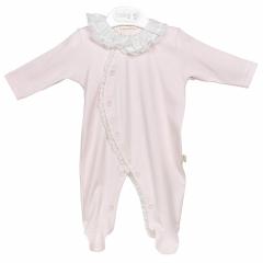 Roze babypakje met ruffle kraag