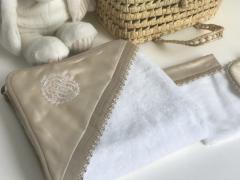 Royal Satin Luxury badcape set beige