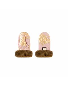 Luxe kinderwagen handschoenen roze met goud