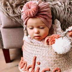 Baby Turban velvet donut 6-18M donkerroze