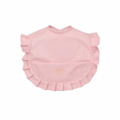 Roze  afneembaar slabbetje met ruffles