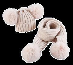 Winter pompon set muts en sjaal beige