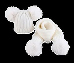 Winter pompon set muts en sjaal creme met witte pompons