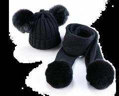 Winter pompon set muts en sjaal zwart