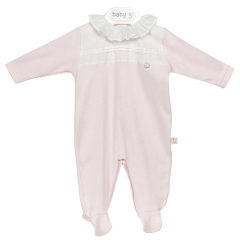 Roze classic babypakje met witte details