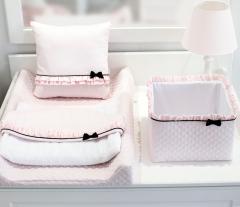 Roze Royal Paris quilted commode mandje